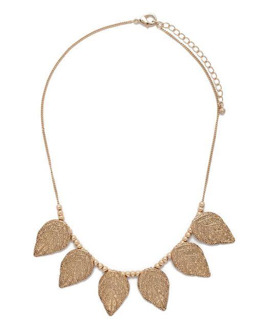 Forever 21   Metallic Leaf Statement Necklace   Lyst