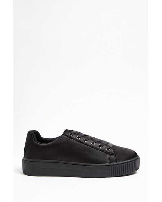 Forever 21 - Black Satin Low-top Sneakers - Lyst