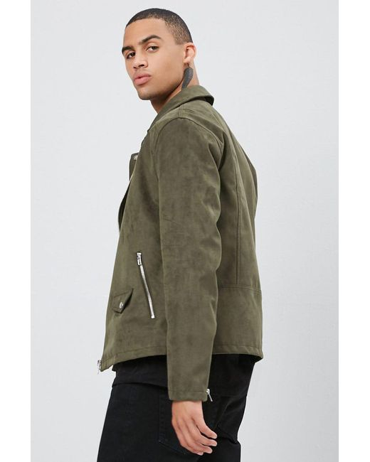 11e6381bb1505 ... Lyst Forever 21 - Green 's Faux Suede Moto Jacket for Men ...