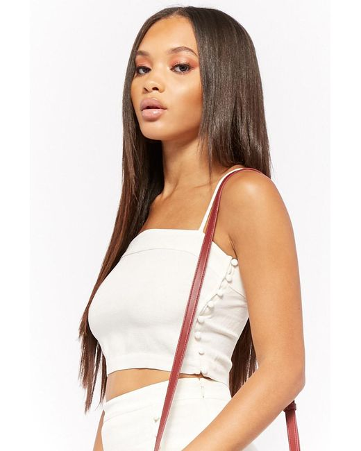 Forever 21 - White Linen-blend Crop Cami - Lyst