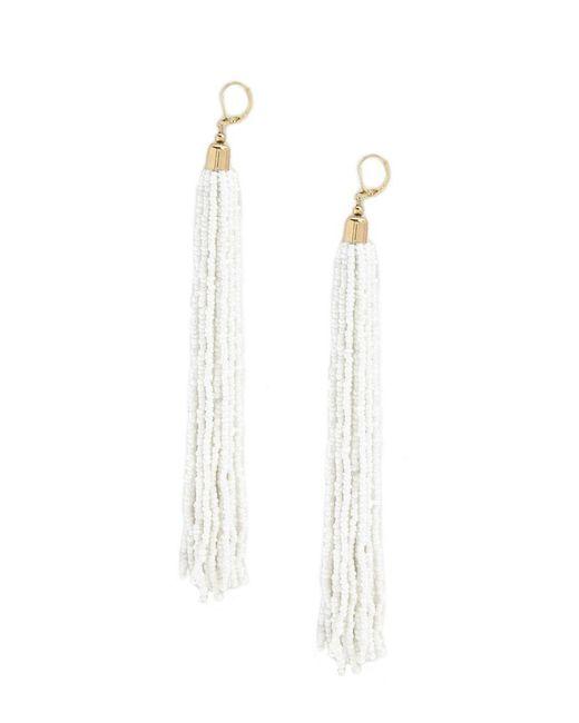 Forever 21 - White Beaded Tassel Duster Earrings - Lyst