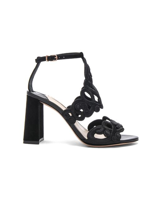 Sophia Webster | Black Embroidered Albany Mid Sandals | Lyst