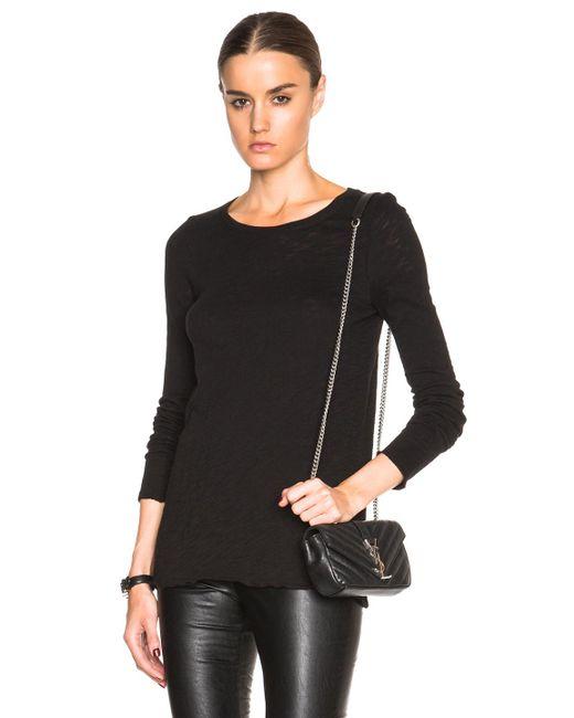 Atm long sleeve crew tee in black lyst for Adam lippes women s long sleeve vee t shirt