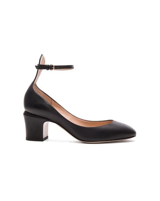 Valentino - Black Leather Tan-go Pumps - Lyst