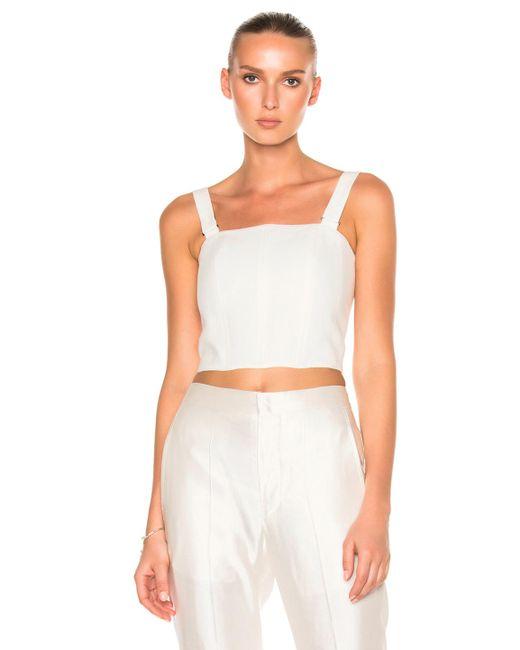 Calvin Klein | White Laura Herringbone Linen Top | Lyst