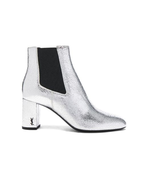 Saint Laurent | Cracked Metallic Leather Loulou Pin Boots | Lyst