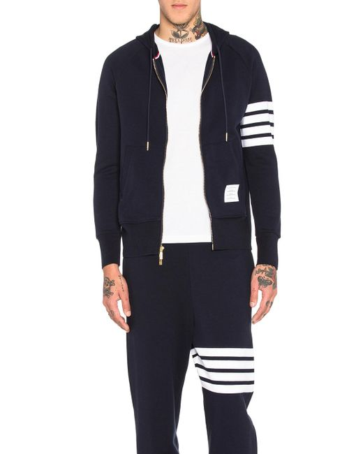 Thom Browne - Blue Engineered 4 Bar Zip Hoodie for Men - Lyst