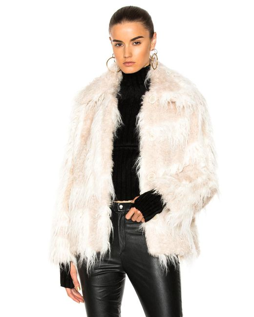 Helmut Lang - Natural Shawl Collar Faux Fur Jacket - Lyst