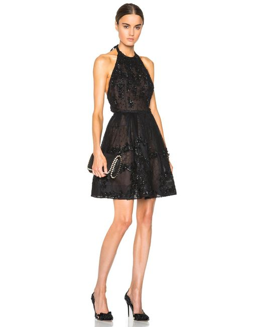 Oscar de la Renta | Black Embroidered Cocktail Dress | Lyst