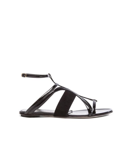 Oscar de la Renta | Black Lexina Patent Leather & Suede Sandals | Lyst
