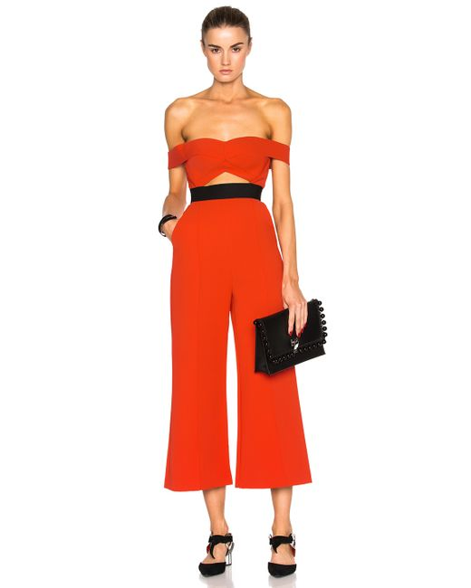 Self Portrait Off Shoulder Flare Jumpsuit In Red Save 44