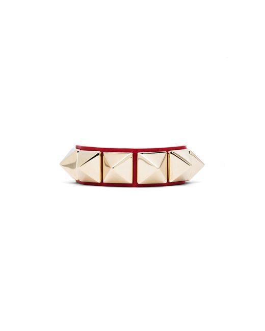 Valentino | Red Medium Rockstud Calfskin Bracelet | Lyst