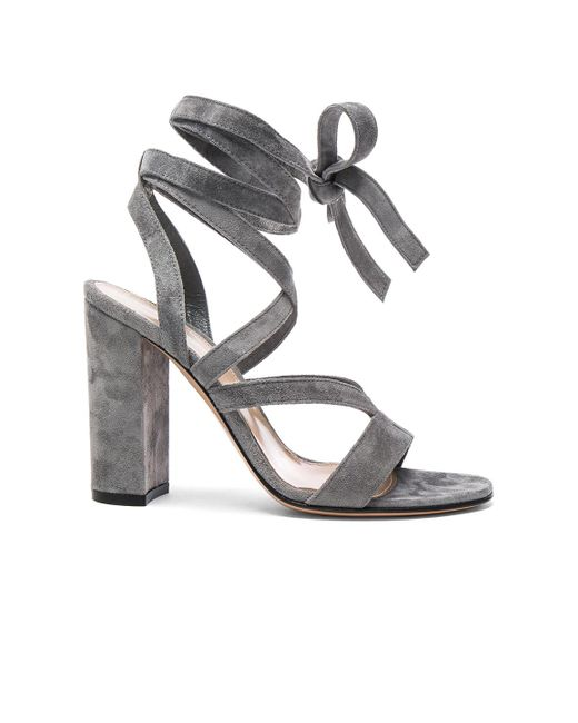 Gianvito Rossi   Gray Suede Janis High Sandals   Lyst