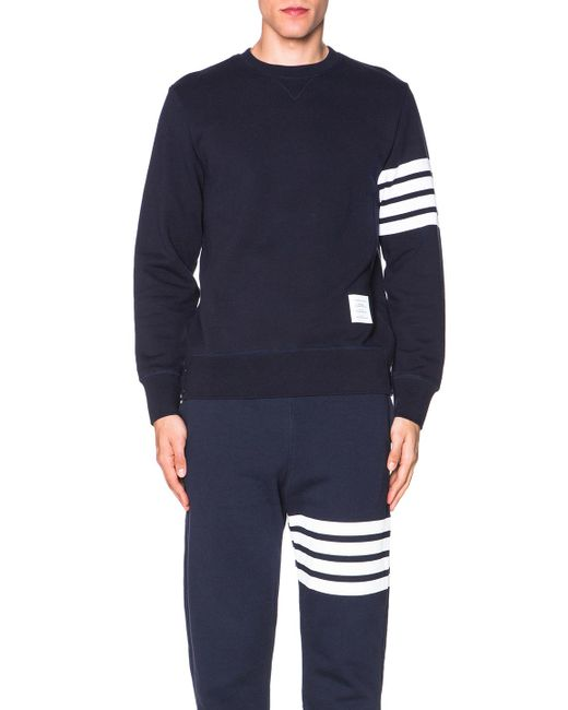 Thom Browne | Blue Crew Neck Sweat Top for Men | Lyst