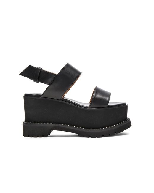 Givenchy | Black Leather Ursa Flatform Sandals | Lyst