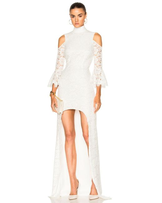 Houghton | White Ashton Guipure Lace Hi Low Gown | Lyst