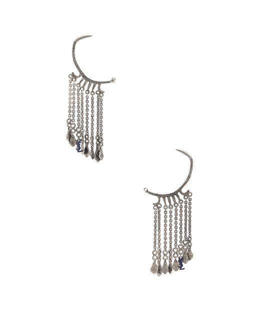 Saint Laurent - Metallic Beaded Drop Hoop Earrings - Lyst