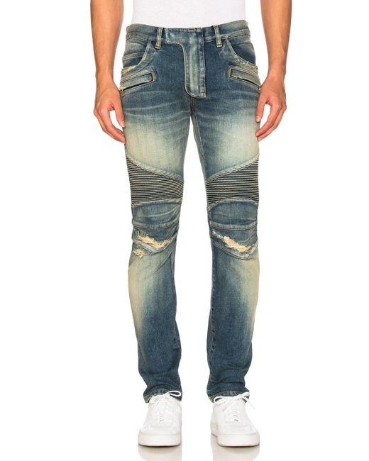 Balmain | Blue Biker Stretch Jeans | Lyst