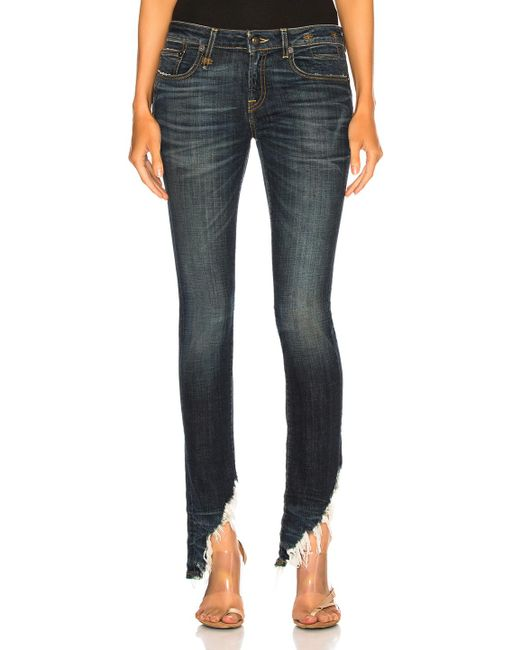 R13 - Blue Kate Skinny With Angled Hem - Lyst