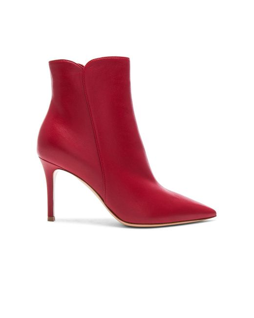 Gianvito Rossi - Red Nappa Leather Levy Ankle Boots - Lyst