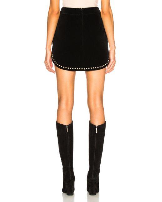 b86c114b5a2 ... Saint Laurent - Black Studded Velvet Mini Skirt - Lyst ...