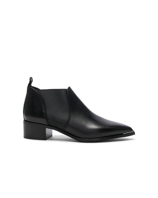 Acne - Black Leather Jenny Booties - Lyst