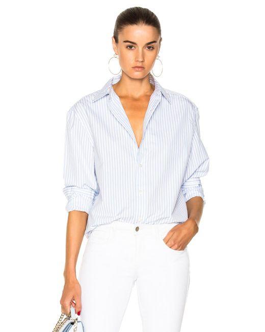 FRAME | Blue Striped Worn In Button Down Shirt | Lyst