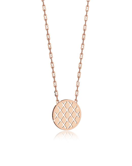 Rebecca - Pink Melrose Rose Gold Over Bronze Necklace W/round Charm - Lyst