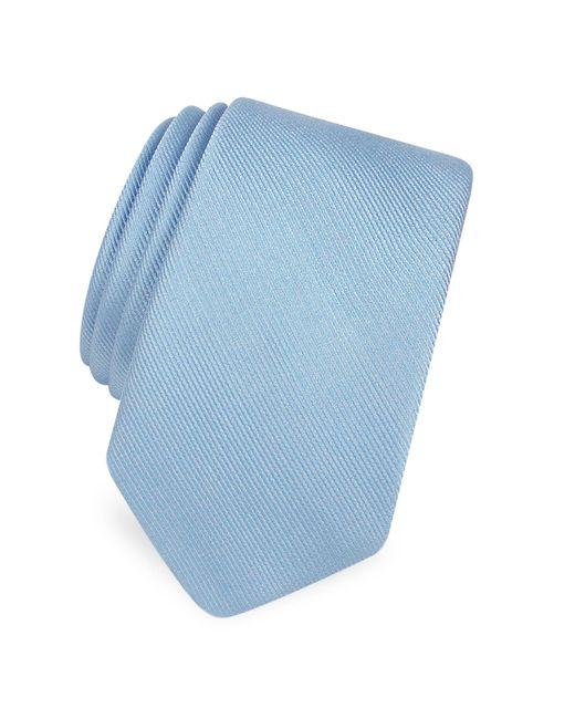 Forzieri - Blue Solid Twill Silk Narrow Tie for Men - Lyst