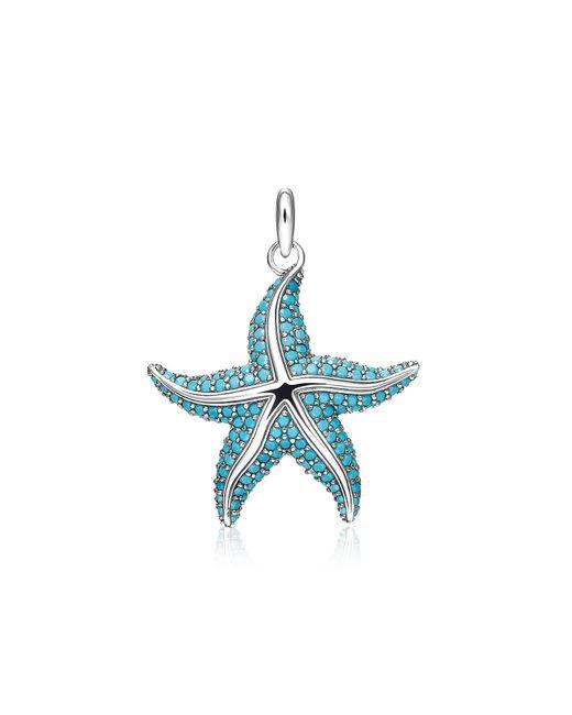Thomas Sabo - Blue Blackened Sterling Silver Starfish Pendant W/turquoise Stone Glass-ceramic Stones - Lyst