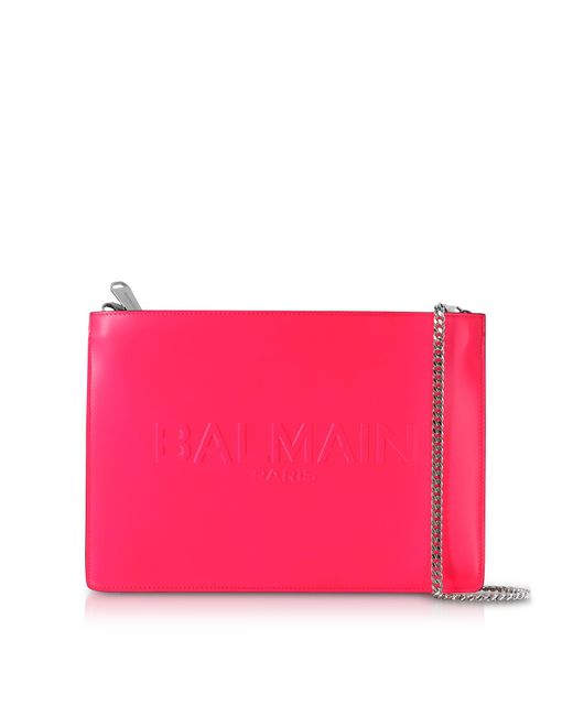 Balmain - Pink Neon Fuchsia Shiny Leather Domaine Clutch W/embossed Logo - Lyst