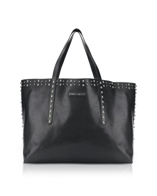 Jimmy Choo - Pimlico Black Leather Tote Bag W/pearl Studs for Men - Lyst