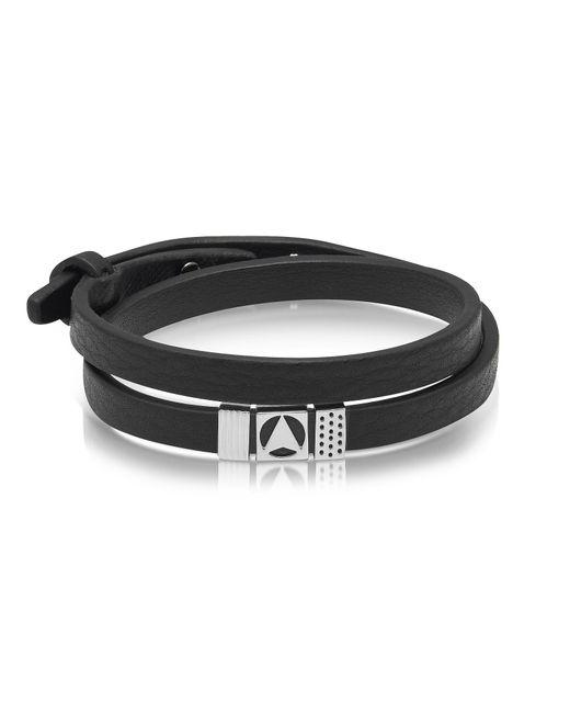 Northskull - Metallic Insignia Black And Silver Double Wrap Bracelet for Men - Lyst