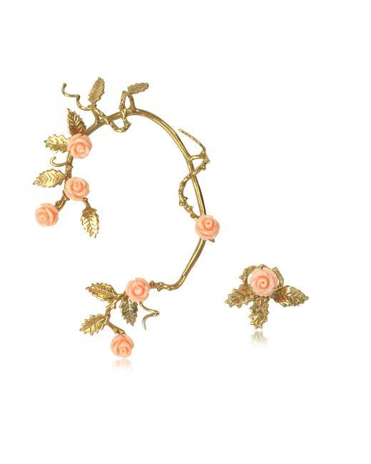 Bernard Delettrez | Bronze Ear Cuff W/pale Pink Resin Roses | Lyst