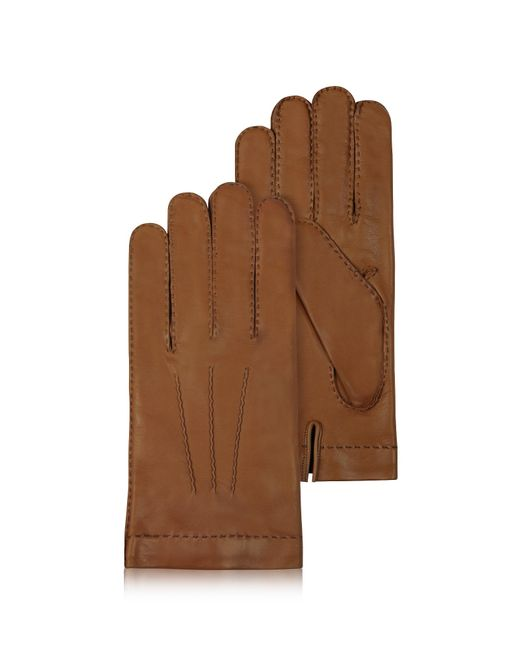Forzieri - Men's Cashmere Lined Brown Italian Leather Gloves for Men - Lyst