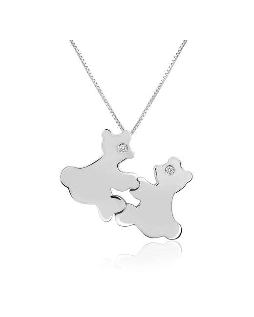 Forzieri - White Diamond & 18k Gold Teddy Bears Pendant Necklace - Lyst