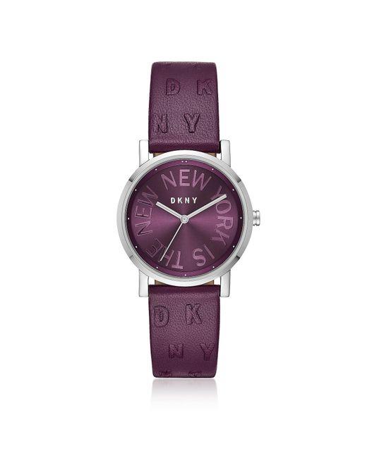 DKNY - Metallic Soho Purple Leather Women's Watch - Lyst