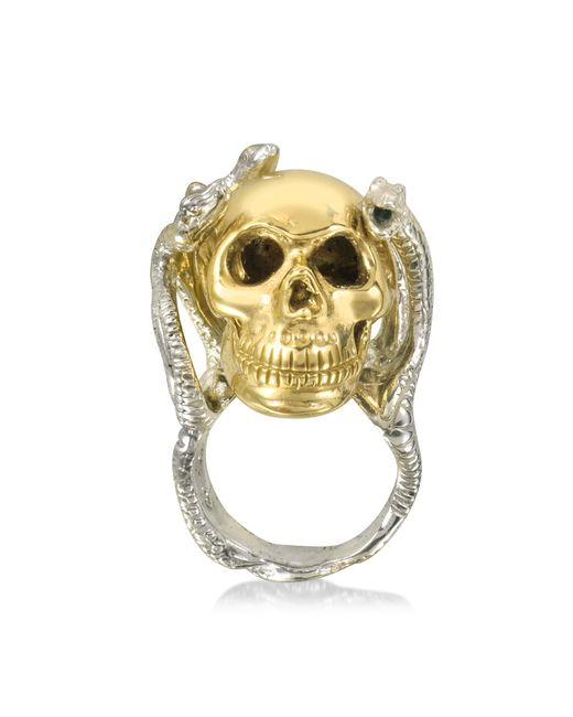 Bernard Delettrez - Metallic Four Snakes Ring W/bronze Skull - Lyst