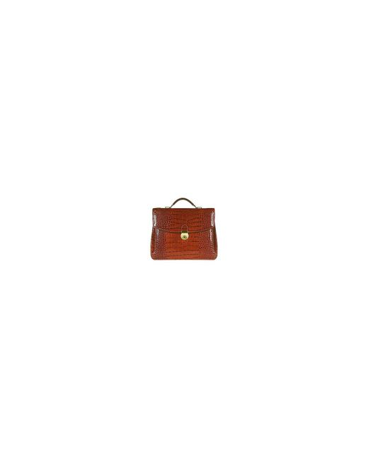 L.A.P.A. - Multicolor Cognac Croco-embossed Double Gusset Briefcase for Men - Lyst