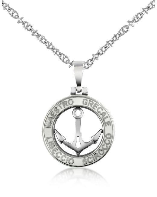 Forzieri - Metallic Stainless Steel Anchor Pendant Necklace for Men - Lyst