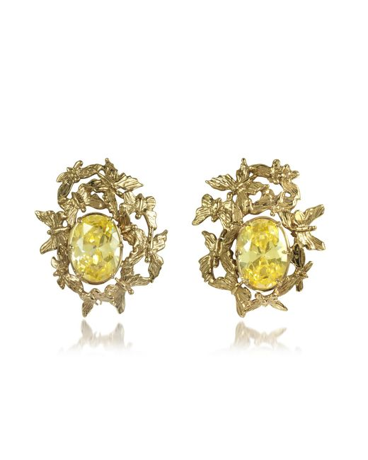 Bernard Delettrez - Metallic Butterflies Bronze Earrings W/yellow Zircons - Lyst