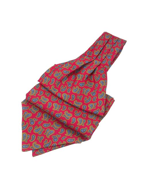 Forzieri - Red Large Paisley Print Twill Silk Ascot for Men - Lyst
