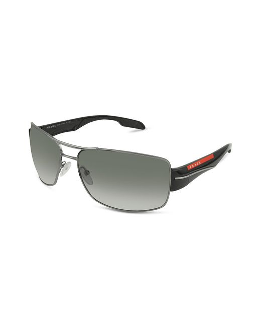 Prada - Gray Rectangle Metal Frame Sunglasses for Men - Lyst