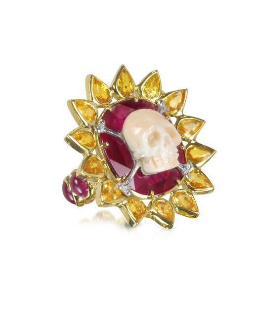Bernard Delettrez - Metallic Gold Ruby And Yellow Sapphires Skull Bone Ring - Lyst