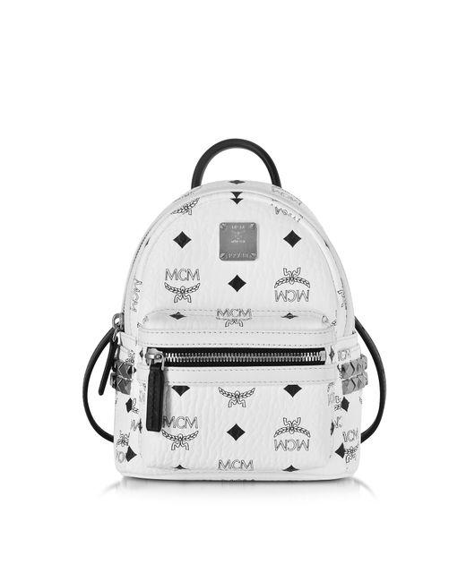 MCM - Stark Bebe Boo White Backpack - Lyst