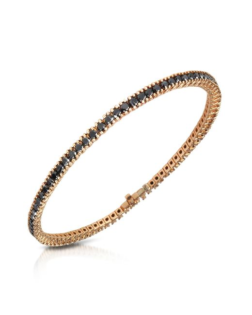 Forzieri - Metallic Black Diamond Eternity 18k Gold Tennis Bracelet - Lyst