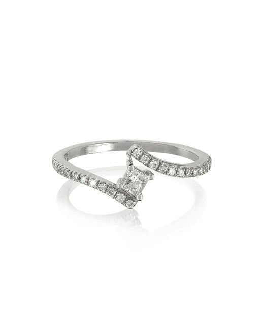 Forzieri - Squared Diamond 18k White Gold Solitaire Ring - Lyst