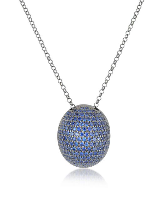 Azhar - Blue Cubic Zirconia Sterling Silver Pendant Necklace - Lyst