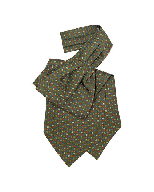 Forzieri - Green Multicolor Floral Print Silk Ascot for Men - Lyst