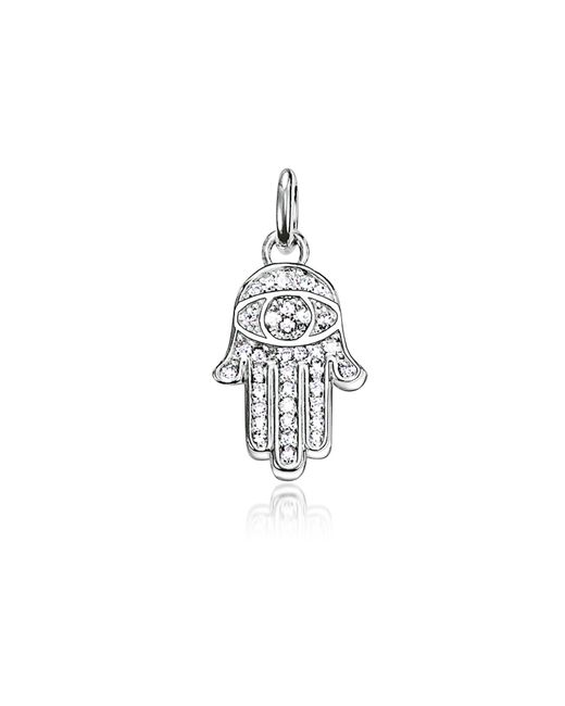 Thomas Sabo - Metallic Blackened Sterling Silver Small Hand Of Fatima Pendant W/zirconia - Lyst